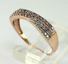 Diamond wedding band ring 14K rose gold crossover fancy pink round brilliant .30