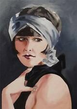 Original Painting Oil on Canvas Portrait  by GREGORY TILLETT : 1920's Geometric