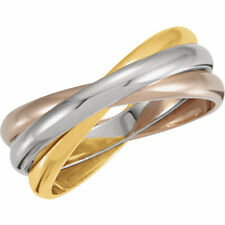 Estate 14K White Yellow Pink Tri-Color Gold 3-Band Rolling Wedding Band Ring
