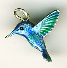 925 Sterling Silver Enamel Humming Bird Pendant  Blue Green Shades  Length 3/4""