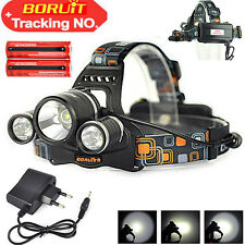 13000 Lm 3*XM-L T6 LED Headlamp Headlight Flashlight Torch 2X18650+EU AC Charger