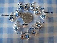 U pick 1 Tibetan silver necklace pendant charm shiny silver blue evil eye ELGR