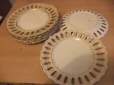 9 X OLD ANTIQUE WHITE GOLD COPELAND SPODE LACE HOLE CHINA DINNER SERVICE PLATES