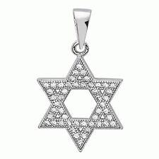 Sterling Silver Jewish Star of David White Crystals CZ Mini Pendant Hand Set