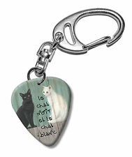 Le Chat Noir Black & White Cats Martin Wiscombe Guitar Pick Keyring Vintage Retr