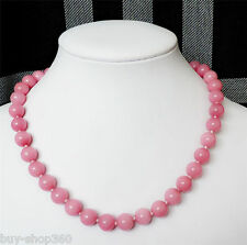 New 10mm Exquisite Pink Rhodochrosite Round Gemstone AAA Necklace18 ""