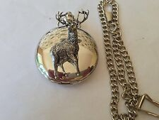A31 Stag 1   polished silver case mens GIFT quartz pocket watch fob