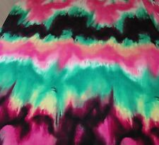 2-YDS POLY LYCRA 4W STRETCH GORGEOUS WAVED TIE DYE KELLY GREEN-PINK COLORS