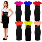 Ladies Celeb Cap Sleeve Lace Contrast Evening Pencil Women's Midi Bodycon Dress