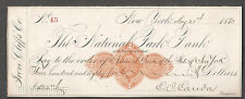 1873 check National Park Bank City Of New York pay to National Bank State Of NY
