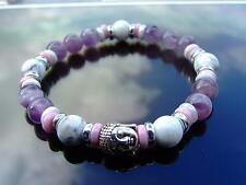Buddha White Howlite/Amethyst 2 Beaded Bracelet 7-8'' Elasticated