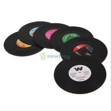 6 x Vinyl Coaster Groovy Record Cup Drinks Holder Insulation Tableware Placemat