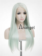 Women's Lace Front Wig Light Green Wavy Handmade Heat Resistant Synthetic Hair