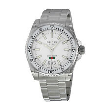Gucci Dive White Dial Stainless Steel Mens Watch YA136302