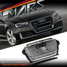 CHROM Black RS3 QUATTRO Style Front Bumper bar Grille Grill for AUDI A3 8V 13-16