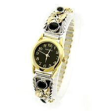 Native American Sterling Silver Gold Plated Ladies Watch with Onyx