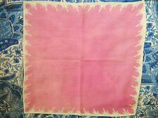 1940S SOFT WARM PINK & WHITE COTTON LADIES HANDKERCHIEF