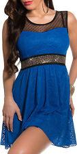 SeXy Miss Mini Kleid Netz Spitze Dress Glamour Steine 34/36/38 blau schwarz Neu