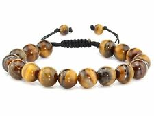 Tiger Eye Lucky Stone 10mm BEADS Adjustable Shamballa Bracelet Father's Day Gift