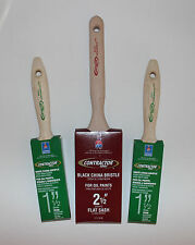 """Lot of 3 Sherwin Williams China Bristle Paint Brushes (1) 2 ½"""" and (2) 1 ½"""" Oil"""