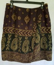 Anne Klein Size 12 Skirt 100% Silk Lined Brown Gold Above Knee Faux Wrap
