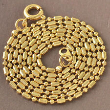 "Cool 9K Solid Gold Filled Mens/Womens Beads Chain Necklace 19.7"" F4569"