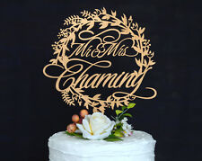 Personalized Wedding Cake Topper Made of Wood and Painted in Metallic Gold #126
