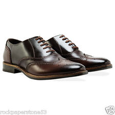 REDFOOT toppa in pelle marrone Oxford Brogue Lacci Gents Scarpe UK 10 RRP £ 140