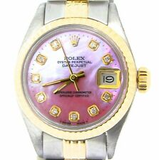 Rolex Datejust Ladies 2Tone 14K Gold & Steel Watch Pink MOP Diamond Dial 6917