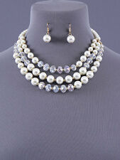 Layered Acrylic White Bead and Pearl Necklace Set