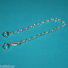 "6 pieces Real 925 Sterling Silver 5"" Safety CHAIN EXTENDERS with 2 Spring Clasps"