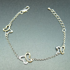 18k yellow white Gold plated butterfly solid bangle bracelet
