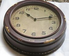 Pottery Barn School House Clock Distressed Vintage Wall Mount Wine Brown $119