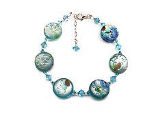*CKstella*  Blue Green Lampwork Crystal Sterling Silver Bracelet Earrings Set