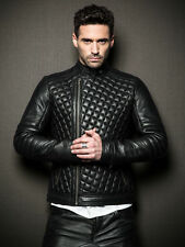 Leather Jacket Lambskin Real Motorcycle New Quilted Stylish Black for Men