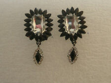 ZARA ELEGANT CLEAR GLASS STONE BLACK SPIKES DROP EARRINGS - NEW