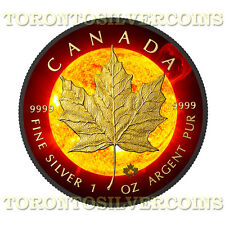 2015 Canada 1 oz Silver $5 Solar Flare Maple Leaf Coin With 24k Black Ruthenium