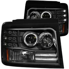 92-1996 F-150/Bronco |92-98 F-250/F-350 Anzo Projector Headlights Black Halo Set