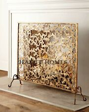 NEW Designer FRENCH Horchow ACANTHUS SCROLL Gold Finish Fireplace Screen