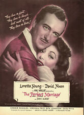 "1947 Vintage Movie Ad for ""The Perfect Marriage."" Loretta Young`David Niven"