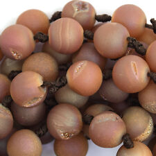 "12mm light brown druzy agate round beads 7.5"" strand 12 pcs"
