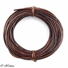 Brown Distressed Round Leather Cord 1.5mm 10 meters (11 yards)