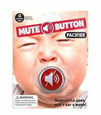 Baby Pacifier - MUTE BUTTON - Funny! ~ Silicone BPA-free ~ Big Mouth Toys