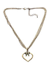 Multi-chain Rustic Bronze Heart/love & Green Bow Necklace(Zx187)