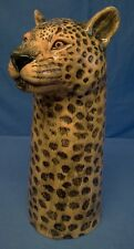 QUAIL CERAMIC LEOPARD FLOWER VASE - JUNGLE BIG CAT WILDLIFE ANIMAL MODEL FIGURE