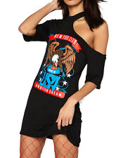 Womans Vintage One Shoulder Born To Be Wild Long T Shirt Mini Dress Skull Top