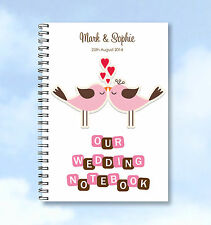 Personalised A4 Notebook Wedding Planning, guest or wedding list book ANY WORDS