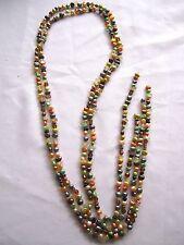 VTG 2 Fresh Water MultiColor Pearls Flapper Length Strand Necklace-Belt-Bracelet