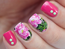 Nail Art Water Decals Wraps Pink Roses Floral Flowers UV Tips Decoration (C28)