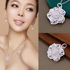 Women 925 Sterling Silver-Plated Heart Flower Pendant Necklace Chain Jewelry